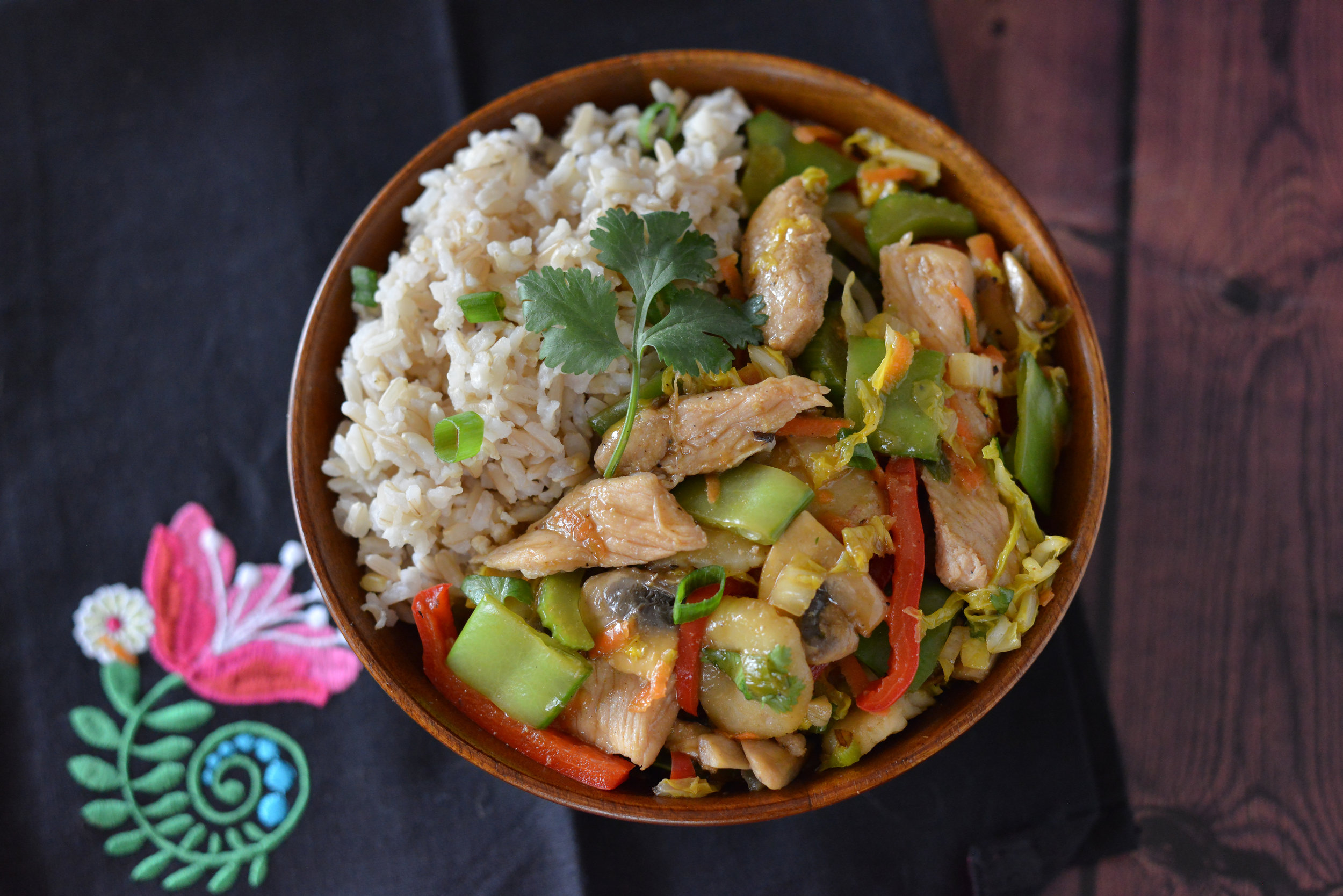 A delicious one-bowl dish that will provide you with a variety of vitamins and minerals,a high amount of protein with few calories and sodium. (Cloth napkin from  A Perfect Pantry )