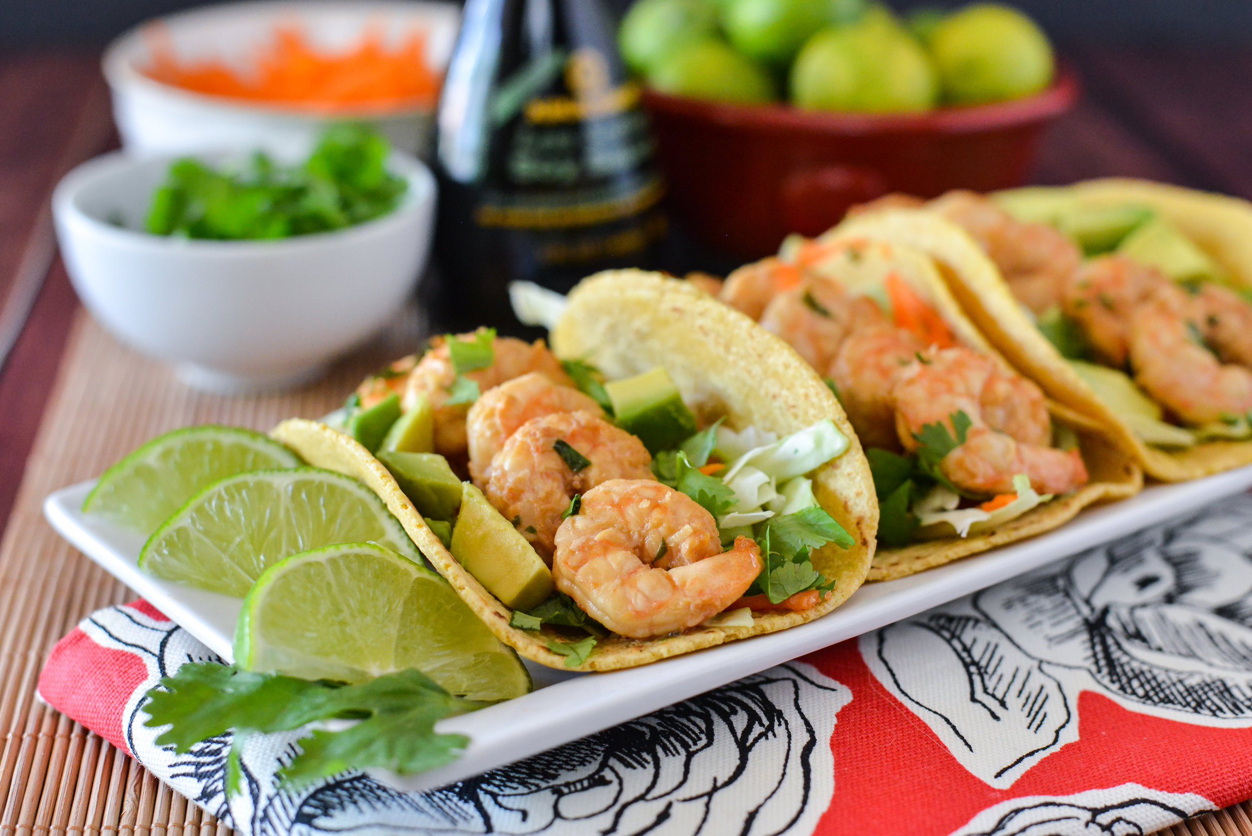 Soy Cilantro Fish Tacos plated