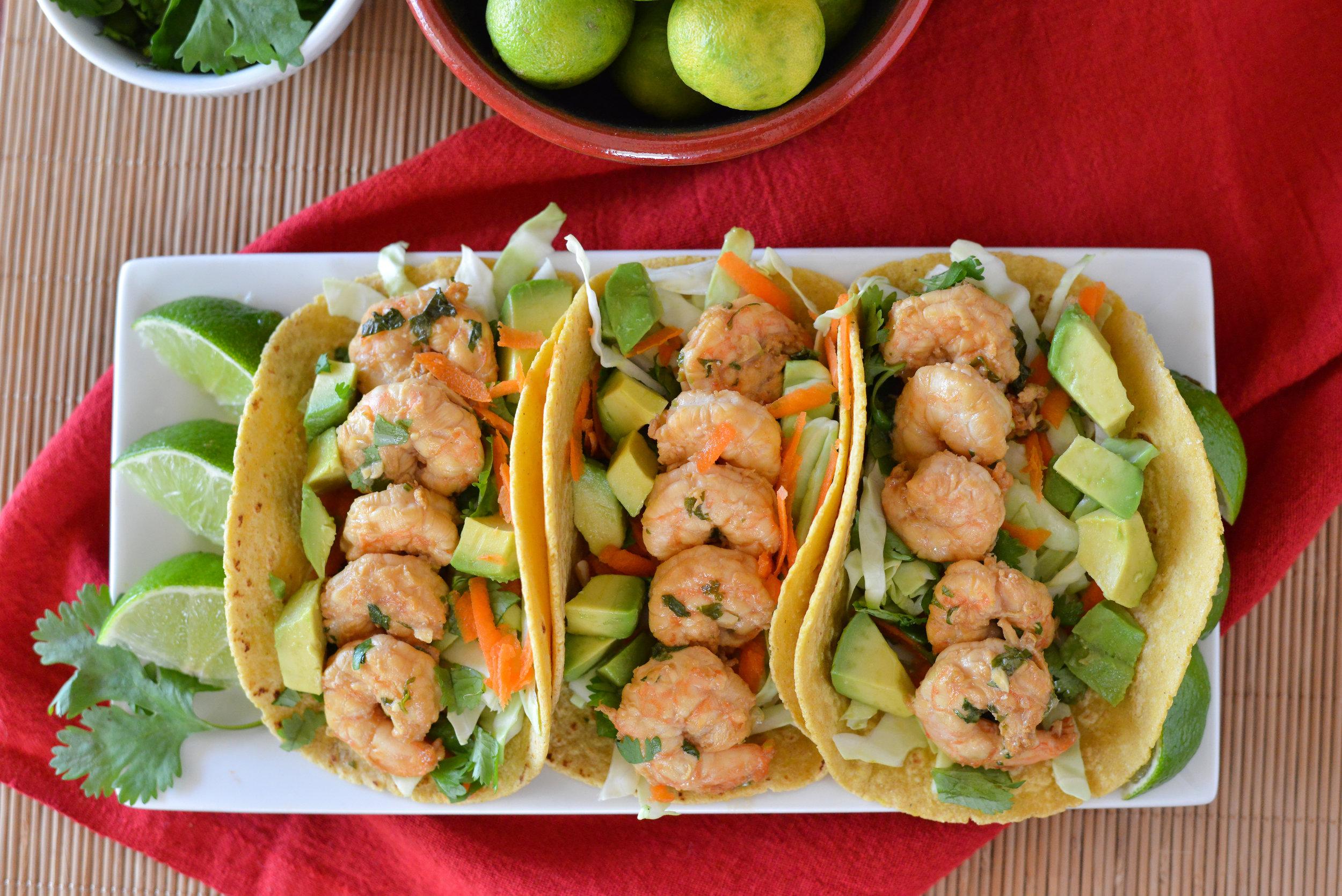 Plated shrimp tacos