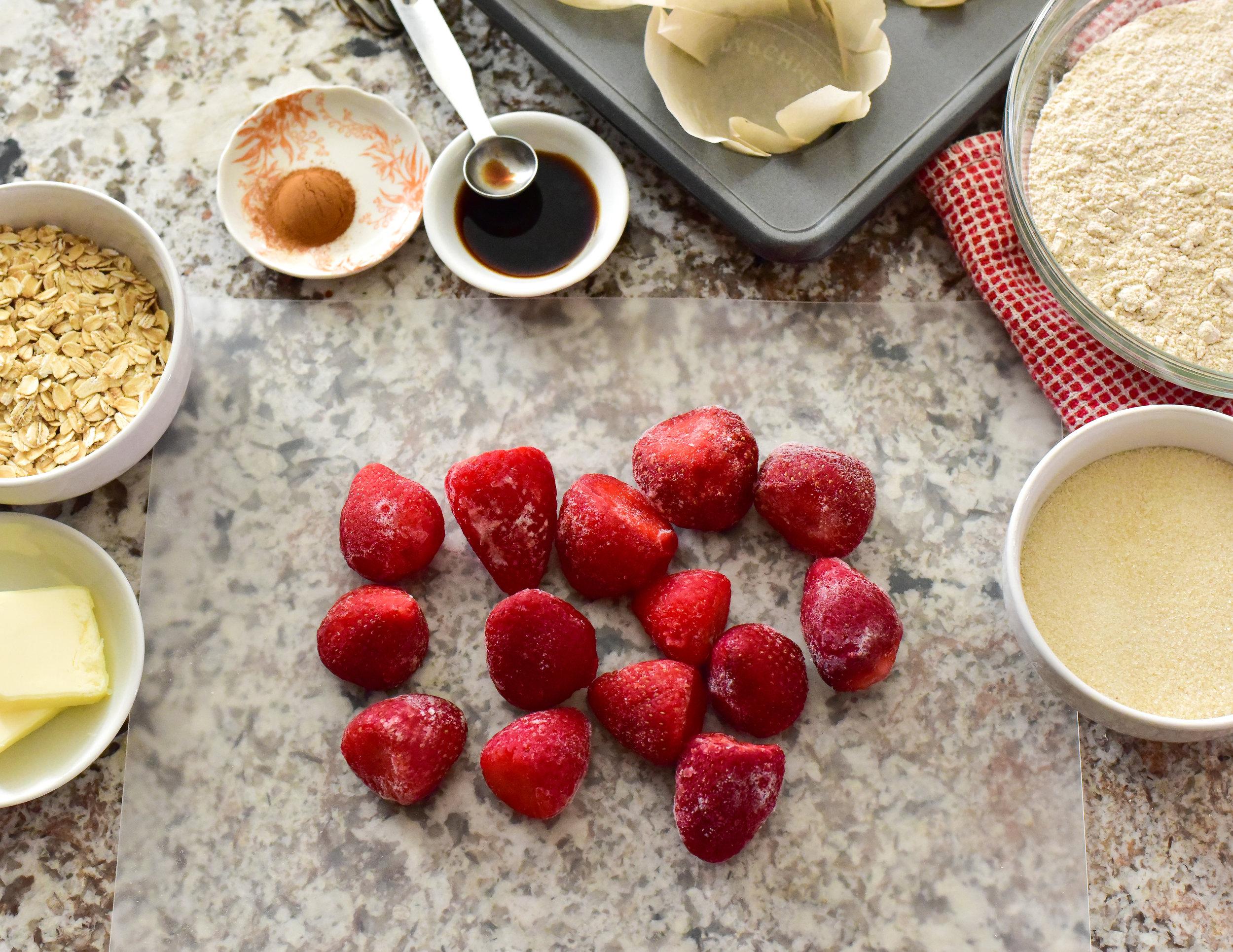 Strawberry Oat Muffin prep