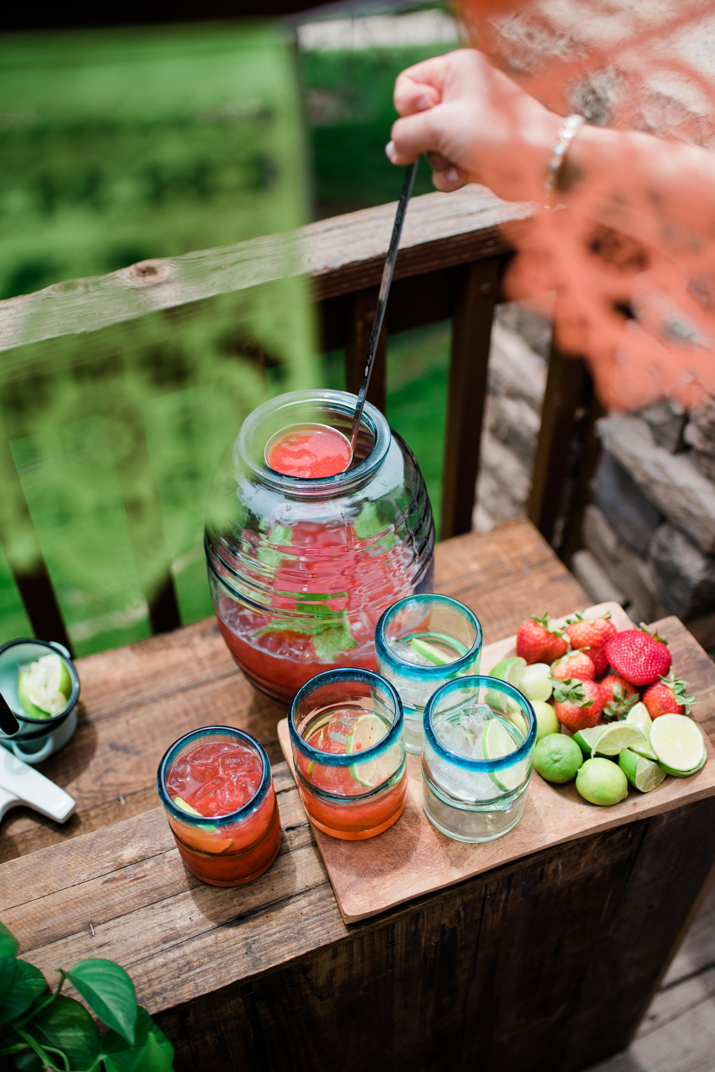 Pouring Strawberry Limonada
