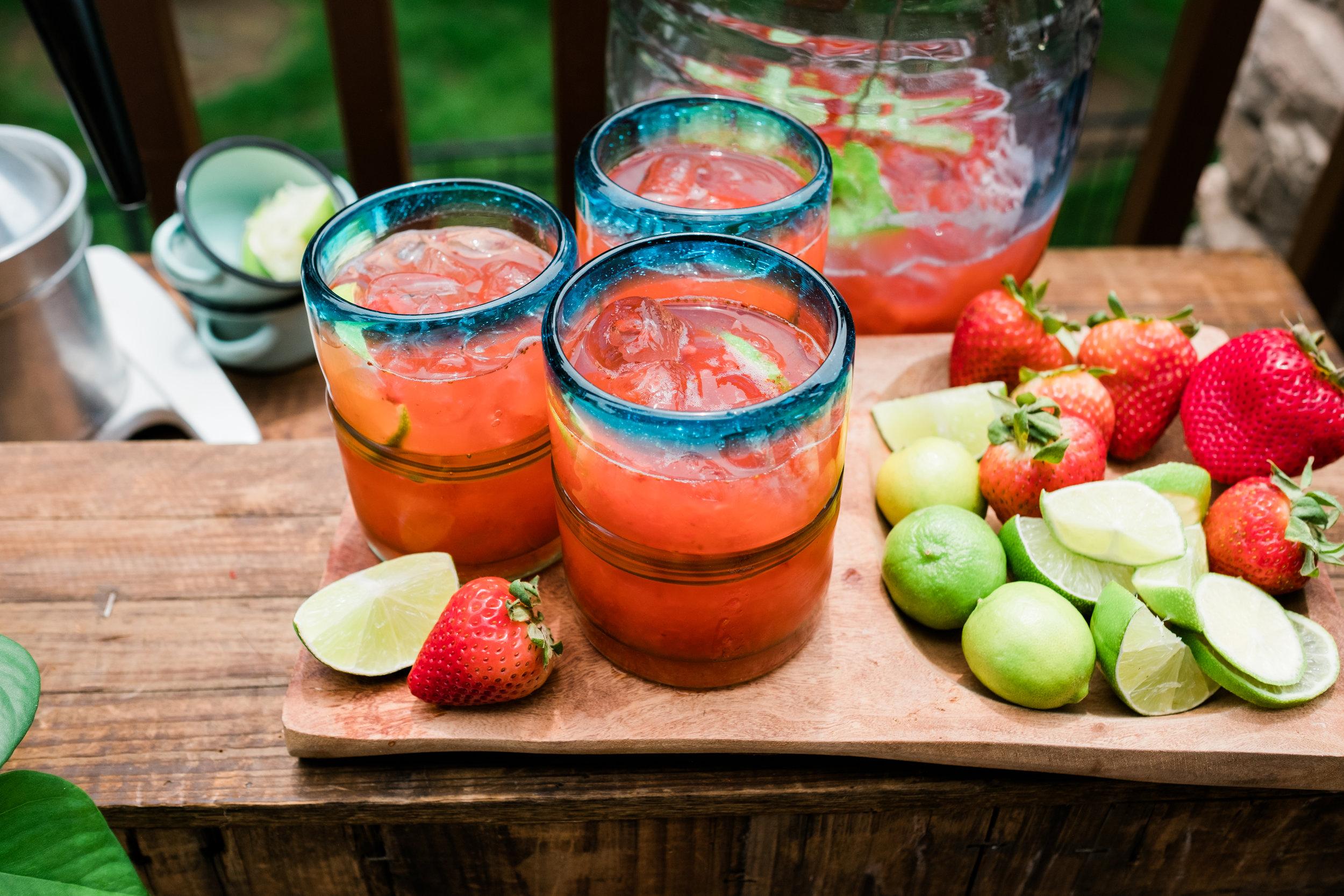 Strawberry limonada served