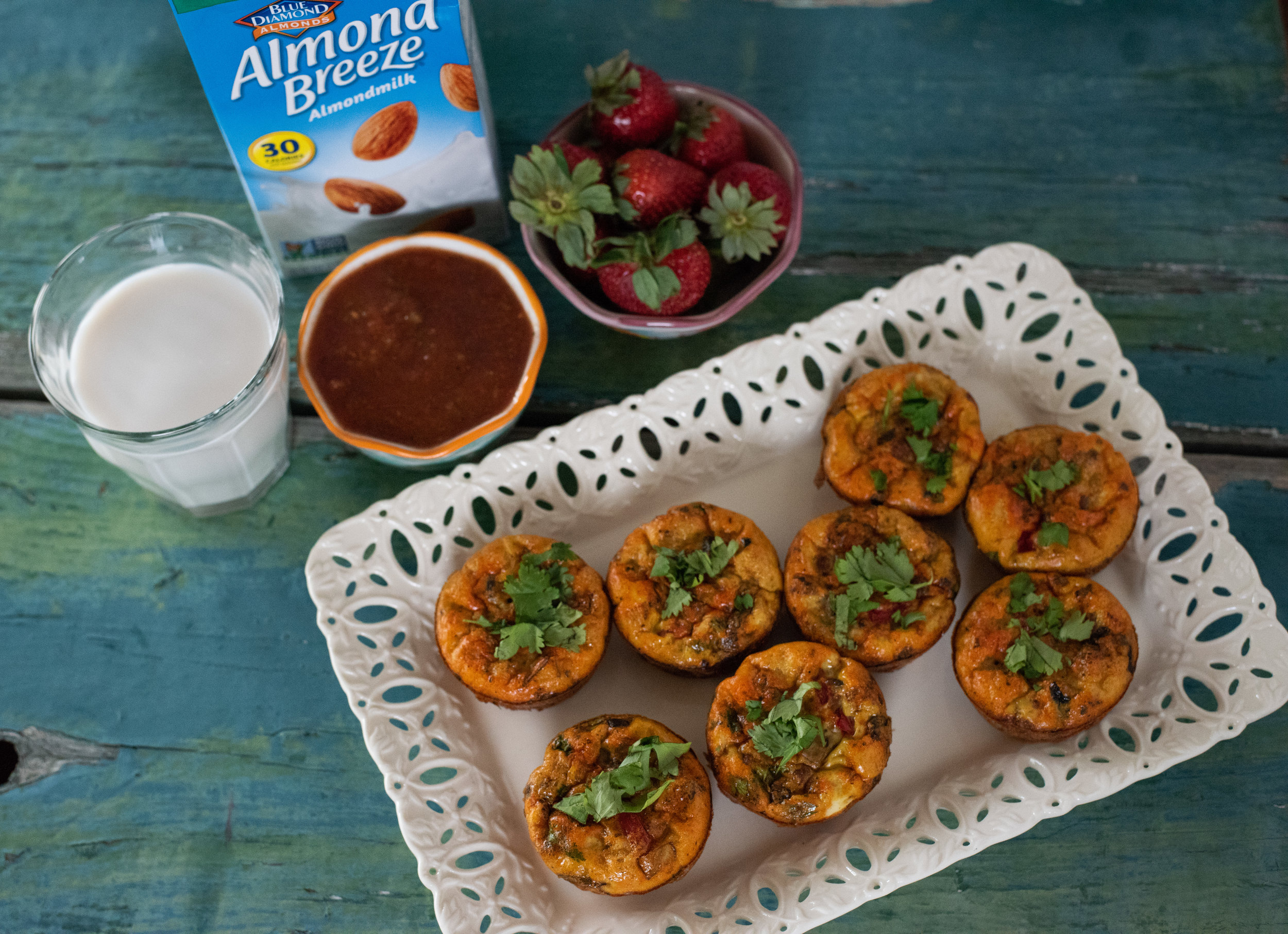 Chorizo Veg Frittatas with Almond Breeze