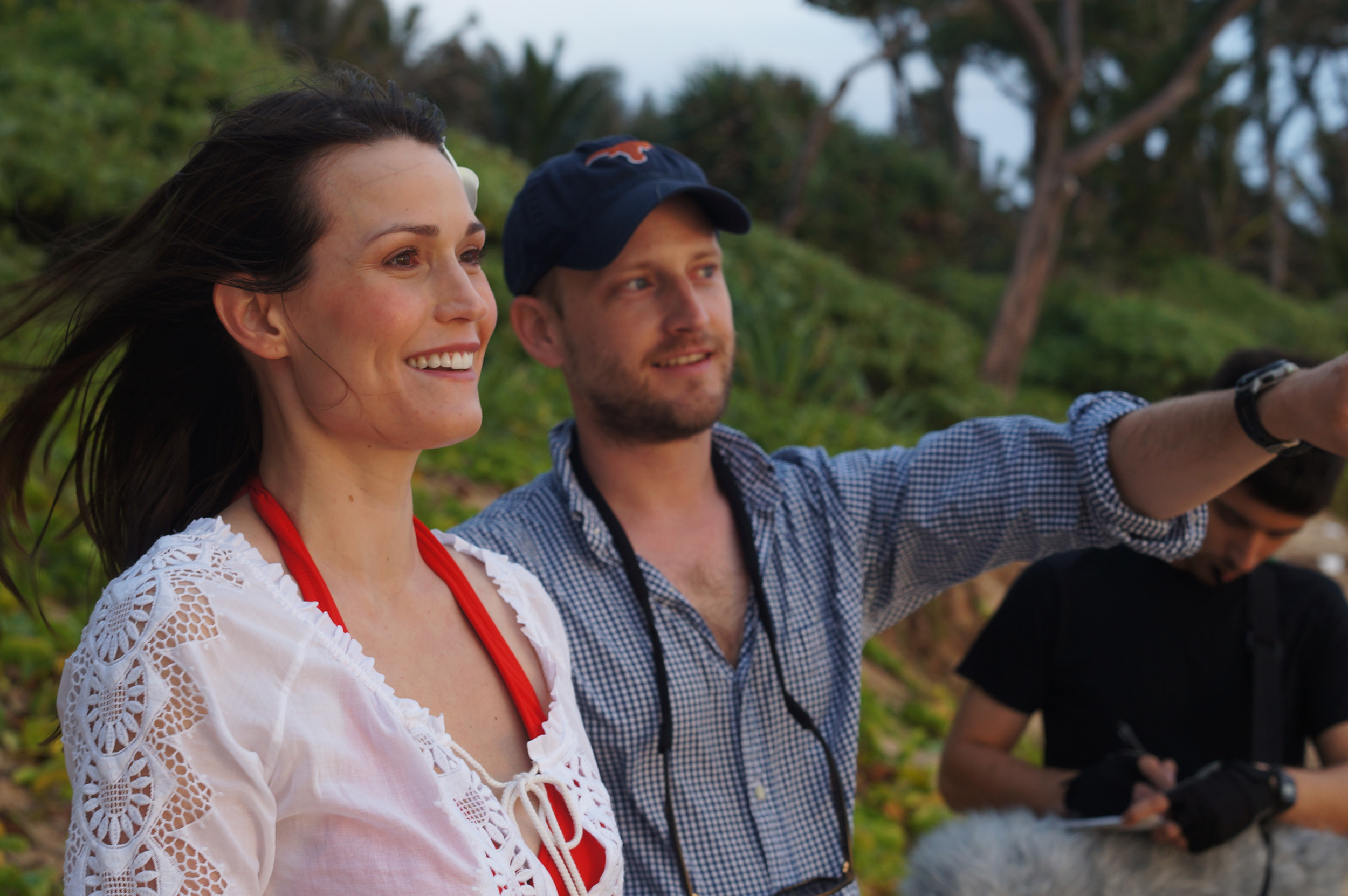Obligatory photo of the director pointing at something while shooting  Pō  in Hawai'i (the talented Mylinda Royer in the foreground, the talented Rui Silva in the background).