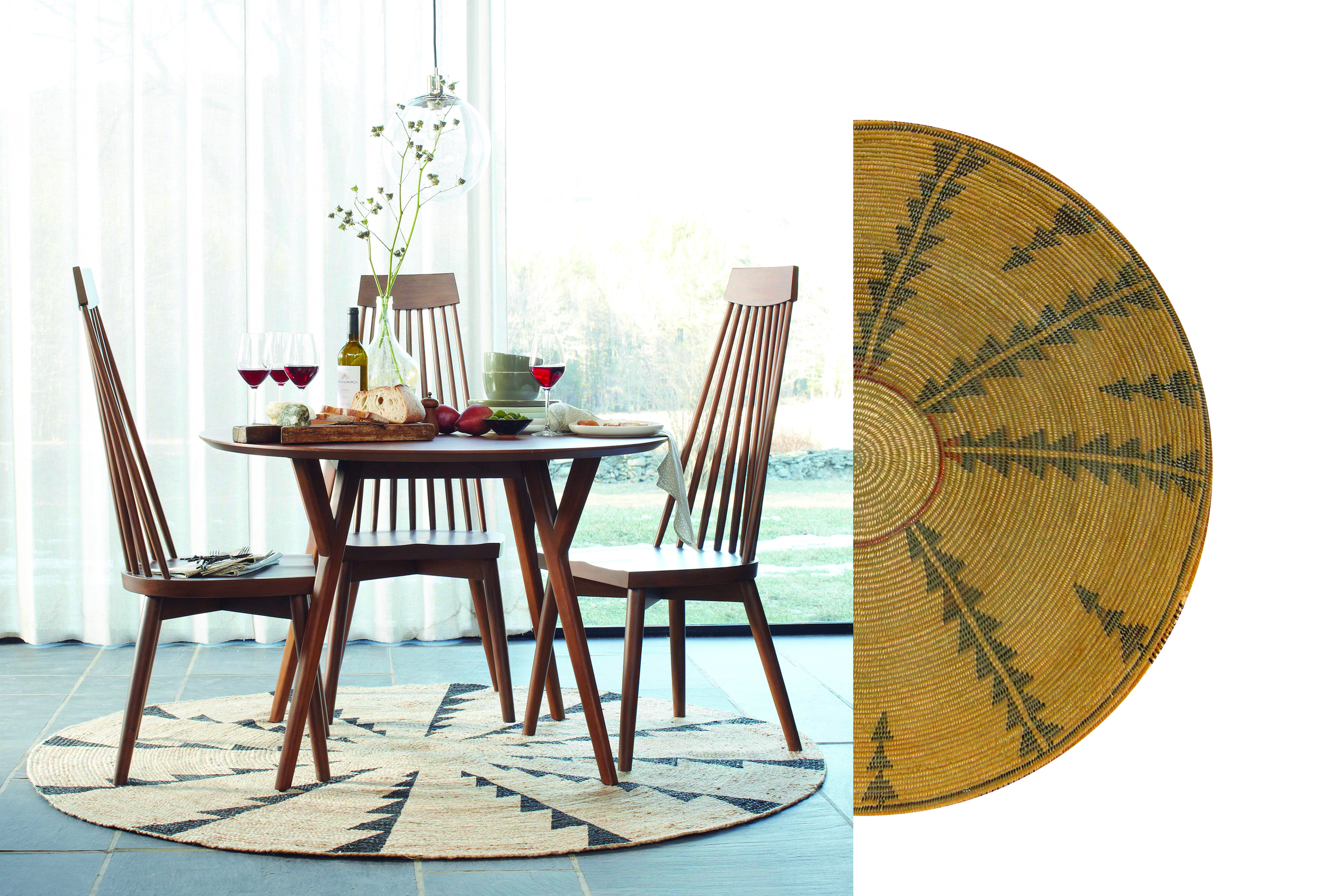 A West Elm Rug (L) and the Native American Basket(R) that inspired it.