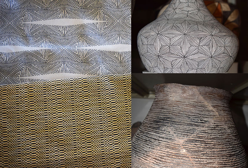 The winning two contract designs. TOP: Design by Abby Scheer, inspired by a graphically patterned pot from Acoma Pueblo. BOTTOM: Design by Jackie London, inspired by a textural ancestral Pubelo pot made with fingernail indentations.