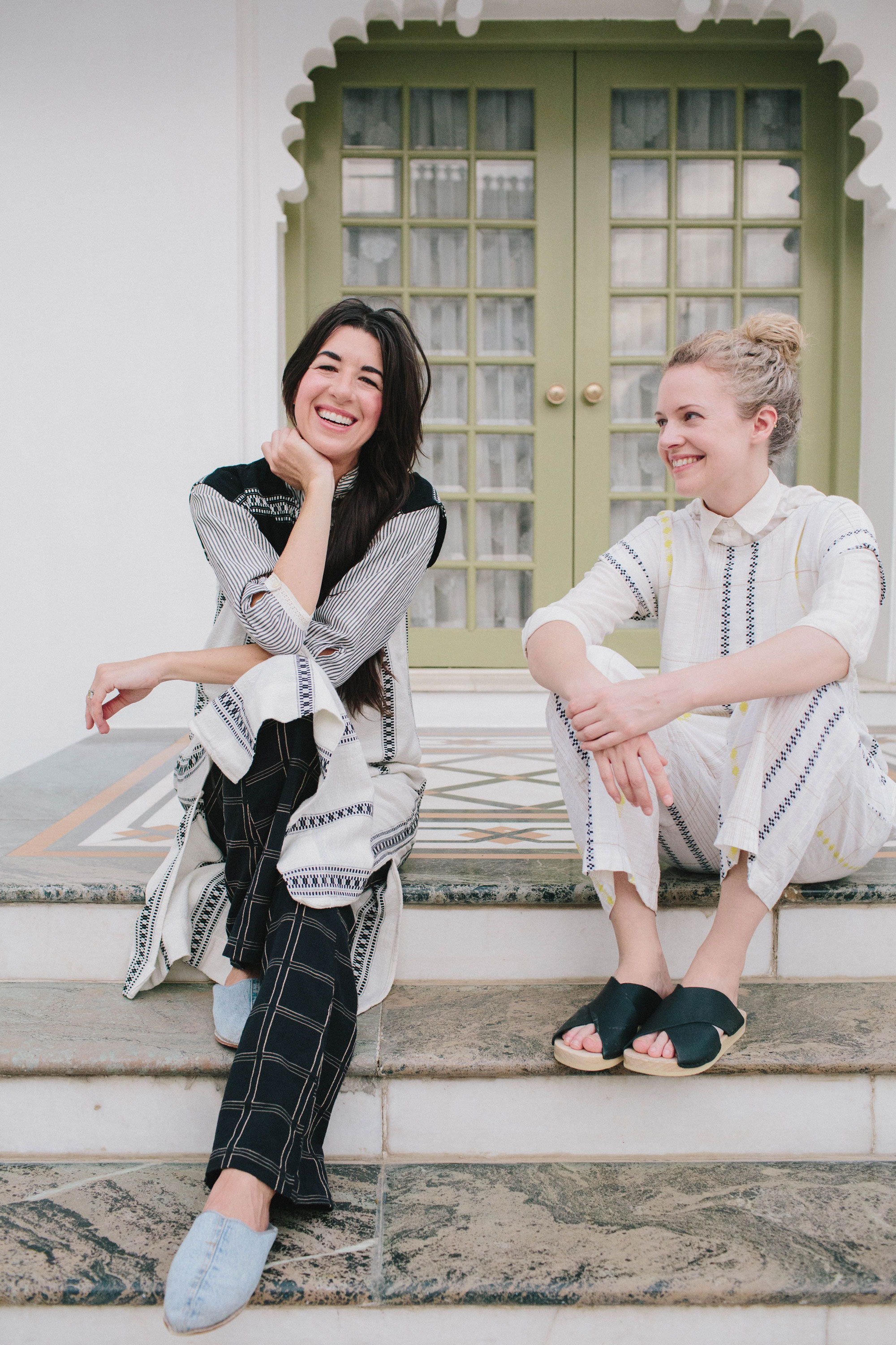 Cary Vaughan & Jenna Wilson  Co-founders, Ace & Jig  Cary and Jenna pair exclusive artisanal textile stories with effortless silhouettes to reinvent the notion of cool, season-less fashion inspired by a shared passion: antique fabrics and colored stripes of heritage cloth. Each fabric in the collection is custom designed with a keen eye on color, motif, and texture, then yarn-dyed and woven on looms in India, where they travel yearly to work with textile experts and artisans to perfect their designs. ace&jig has generated a cult following and can be found at select retailers globally including Liberty of London, Beams Japan, Barneys, ABC Home and Oroboro.  Web:  aceandjig.com  Instagram:  @aceandjig
