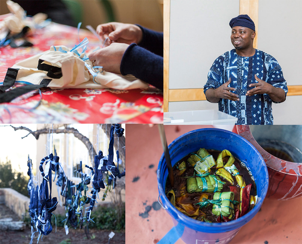 One of the hands-on workshops making tie-dyed indigo tote bags with Nigerian Master Indigo Dyer, Gasali Adeyemo.