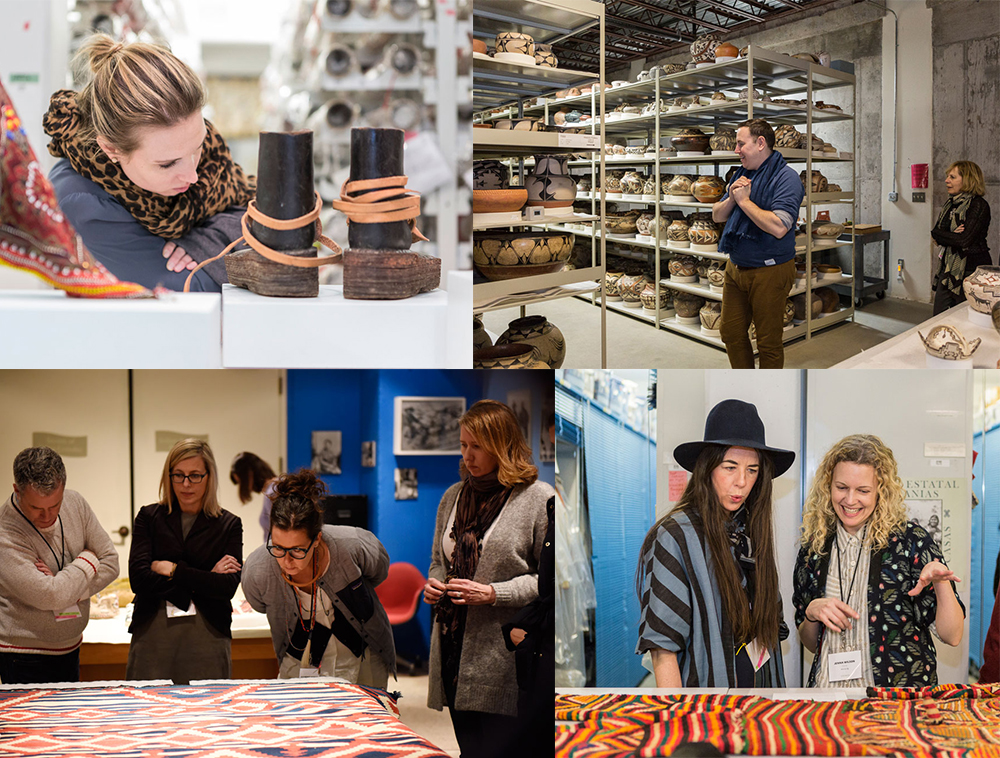 L to R: Elissa Murry of Wolf Gordon, Khristian Lazzaro of West Elm, attendees examining rugs at the Museum of Indian Arts & Culture, Cary Vaughan and Jenna Wilson of Ace & Jig
