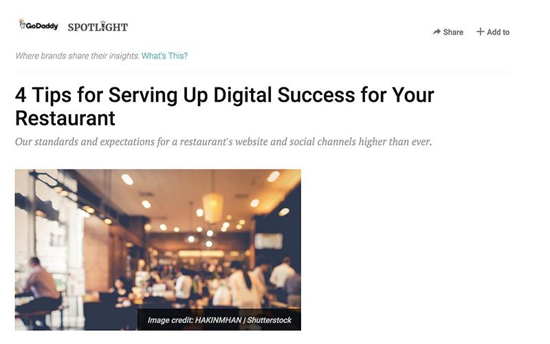 ENTREPRENEUR.Com - ENTREPRENEUR 4 TIPS FOR SERVING UP DIGITAL SUCCESS FOR YOUR RESTAURANT