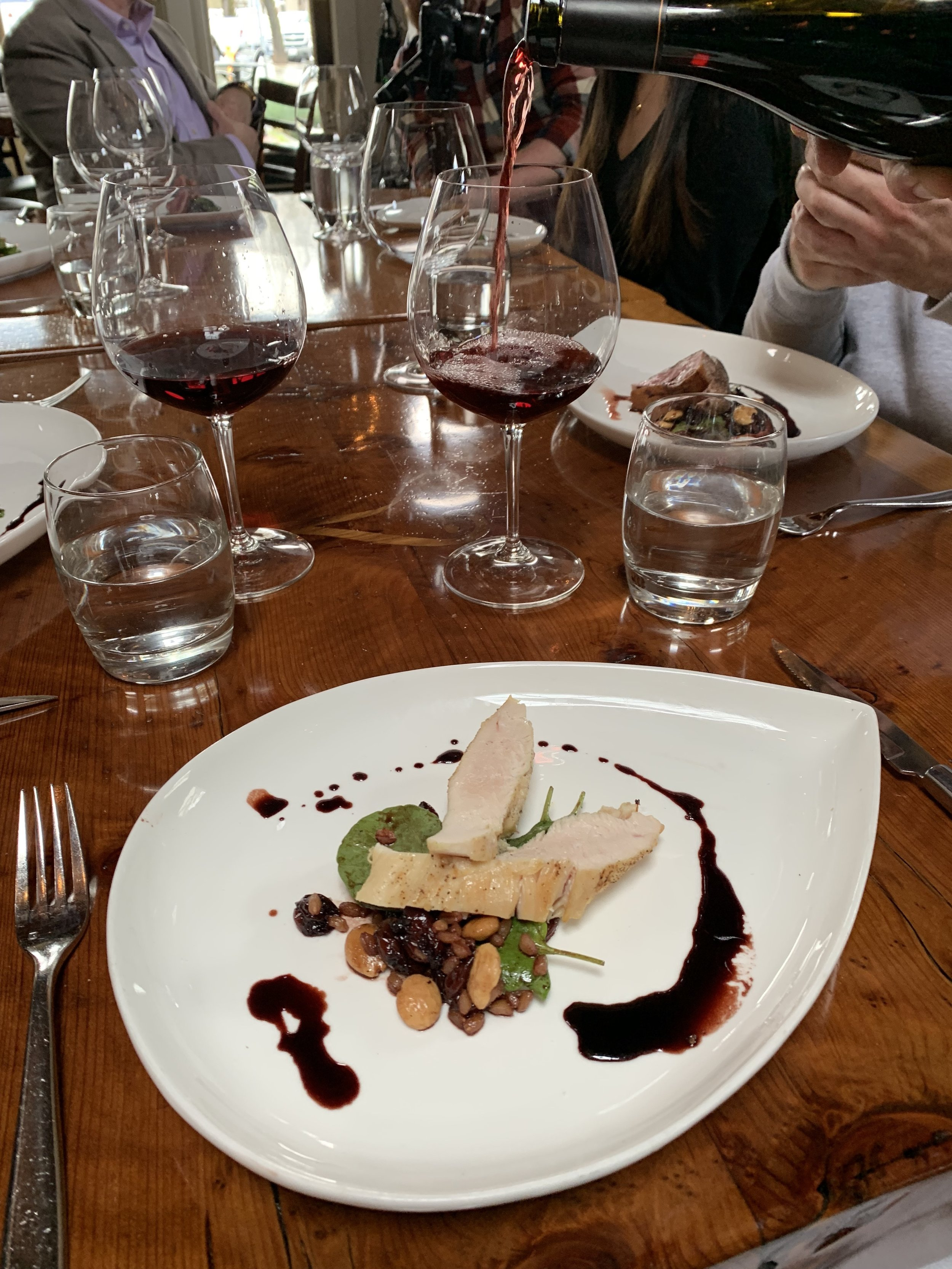 Chicken in a reduction paired with the 2015 Gap's Crown Pinot Noir.