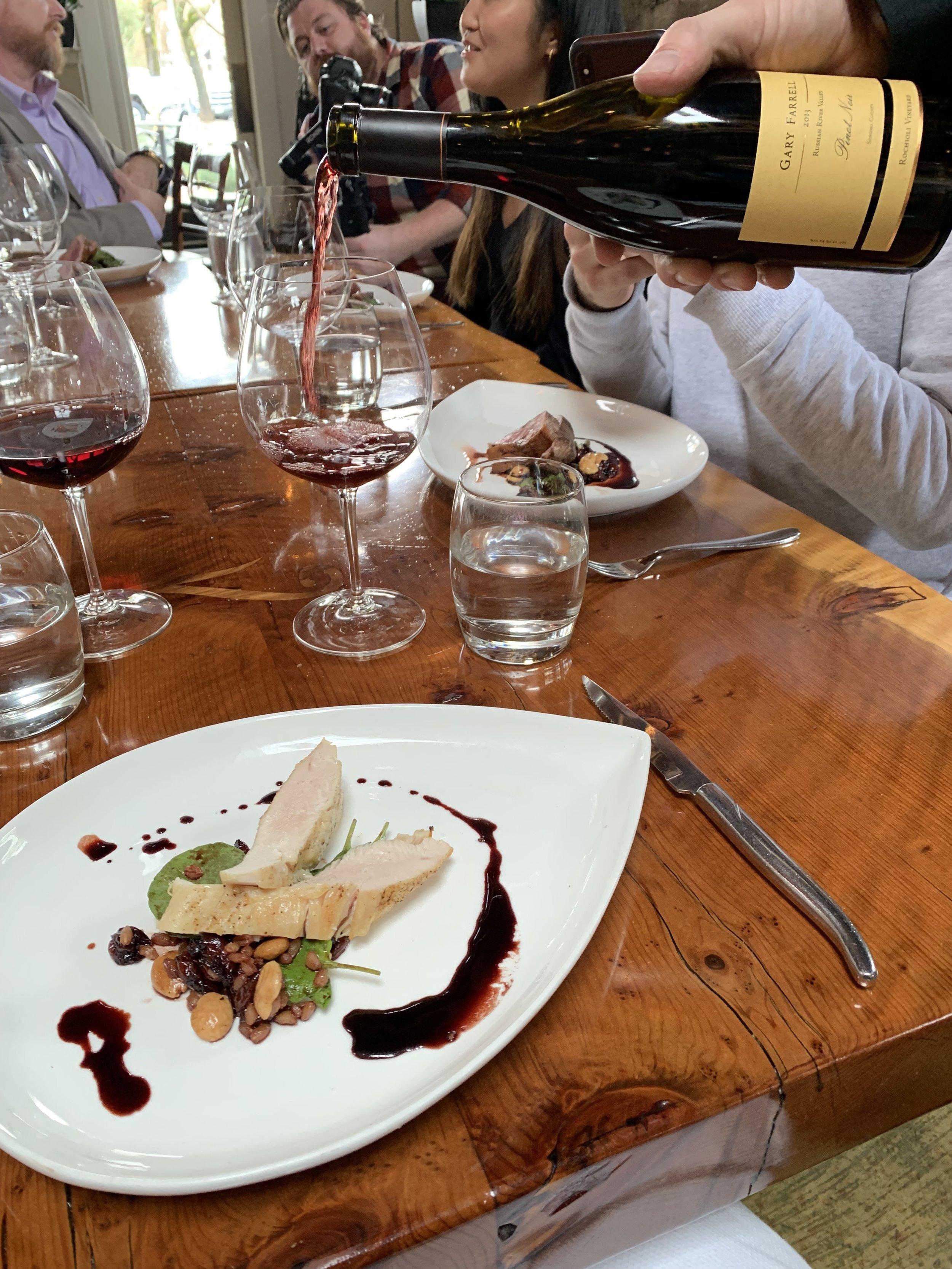 Gary Farrell Winery Bloggers lunch at Valette Restaurant, Healdsburg