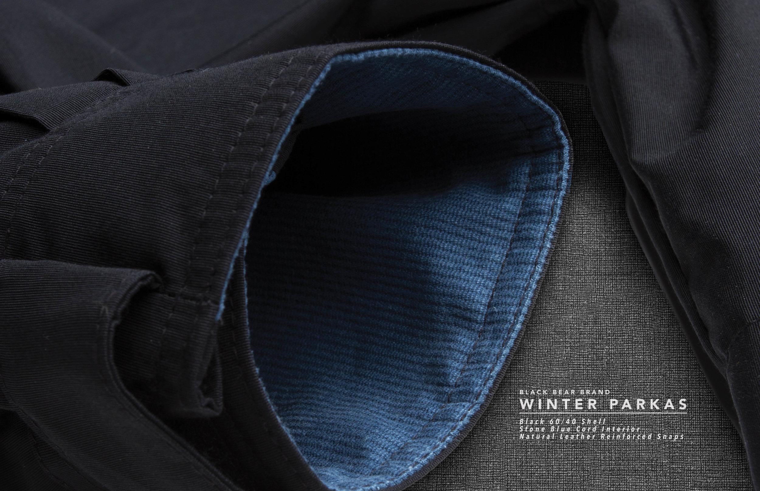 Black Bear Brand parka with stone blue corduroy liner