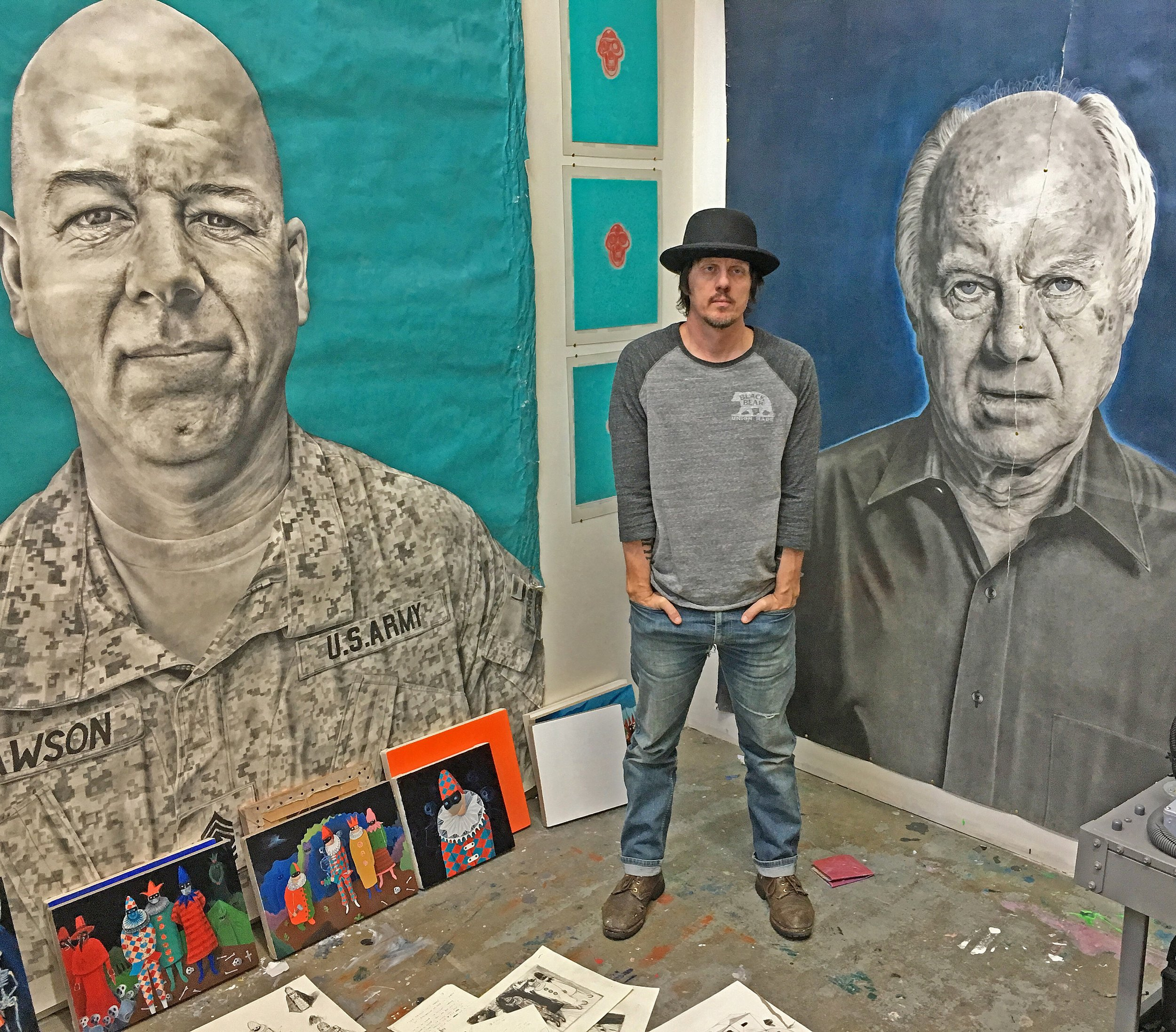 10 ft by. 6.5 ft pencil drawings on an acrylic and oil background... - Paul Kaiser
