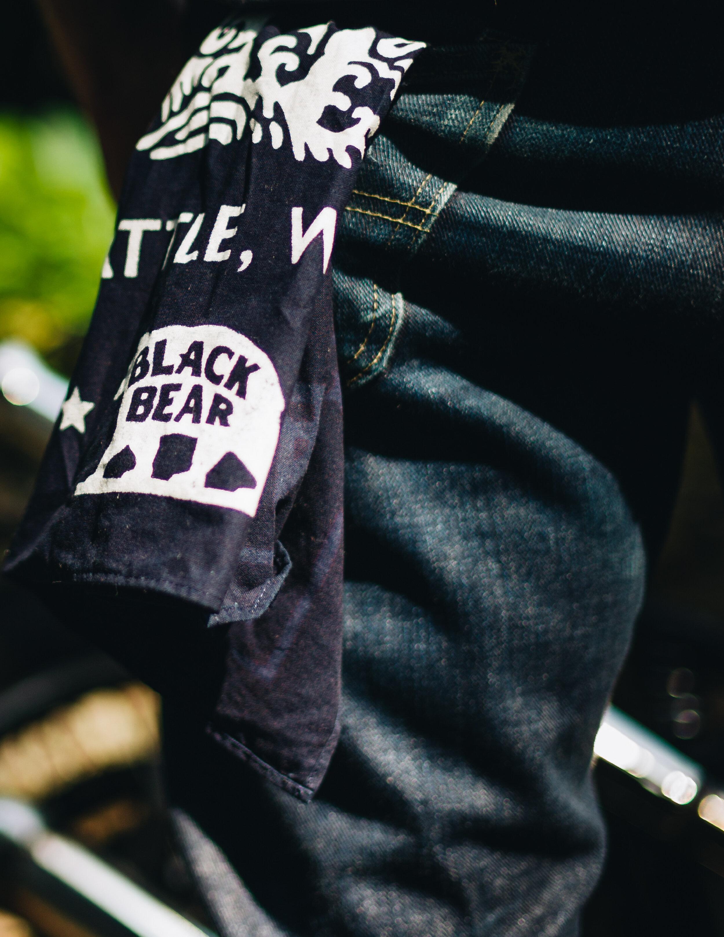 Black Bear Brand indigo bandana