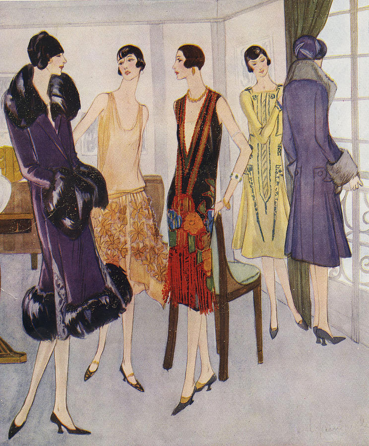 An illustration of five women wearing 1920s art deco attire and bob haircuts chatting a party