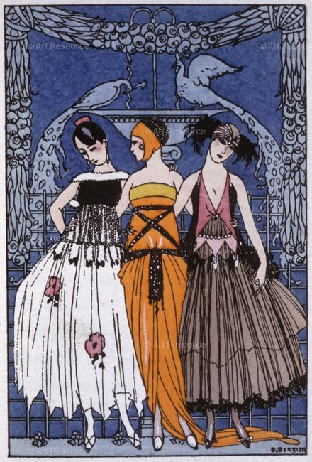 Three women in lavish art deco era costume standing arm in arm