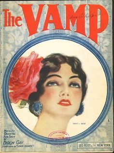 An art deco era illustration of a beautiful woman titled The Vamp
