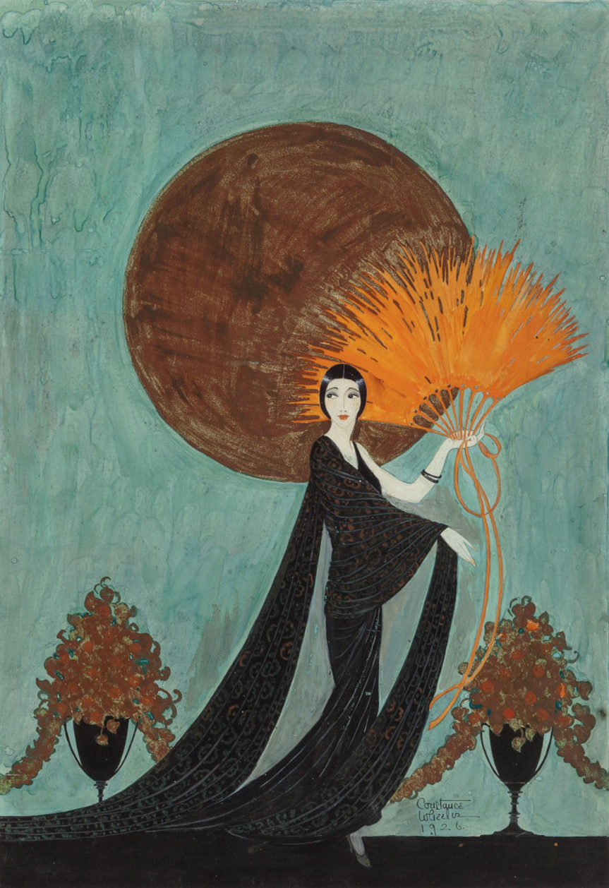 An illustration of a 1920s art deco era woman in a long trailing black gown