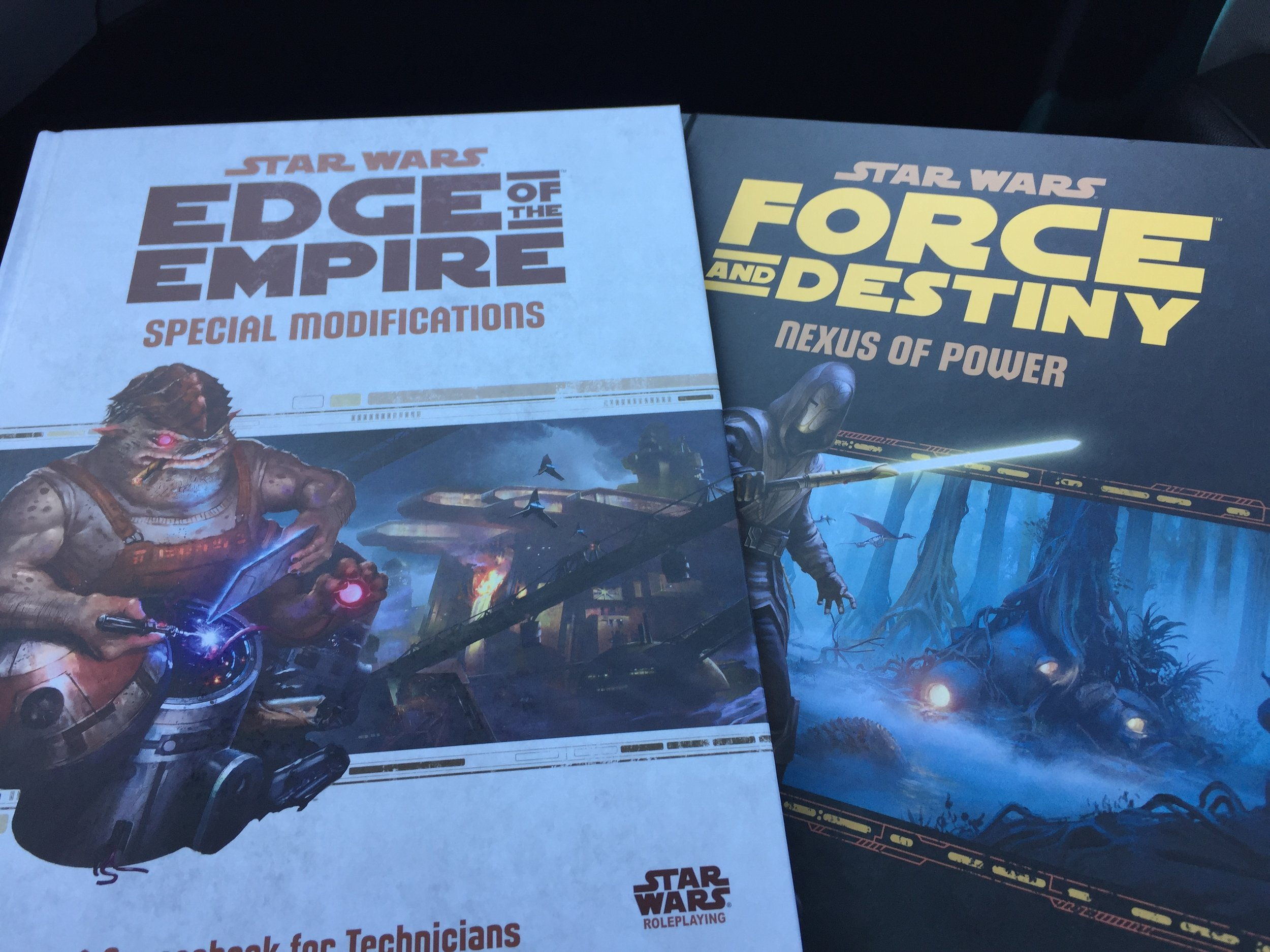 Sourcebooks/Adventures from the FFG Star Wars RPG line.