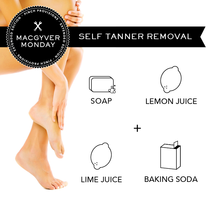 pinchprovisions :     Time for another MacGyver Monday: Extended Edition!   It is nice to have a summer glow without harmful effects of sun exposure but sometimes quick application of self-tanner can result in OMG moments.   To get rid of self-tanner streaks and blotches, mix soap, lemon juice, lime juice and baking soda and use a loofah with the mixture to gently buff your skin.      Good to know!