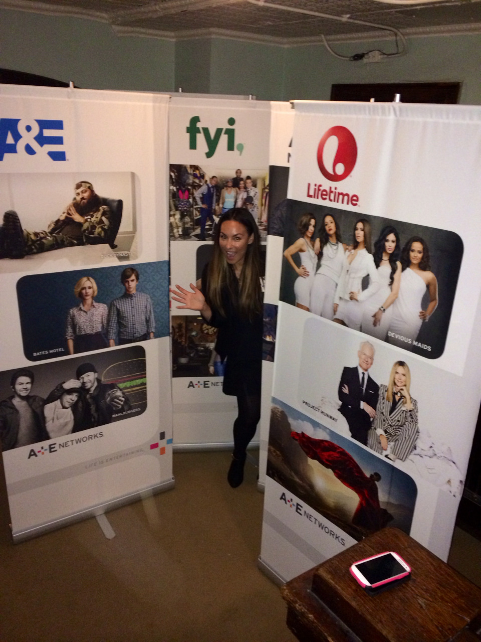 Peekaboo! Lovin' me some #bannerstands at A+E Networks Upfront event 2014 #marketing