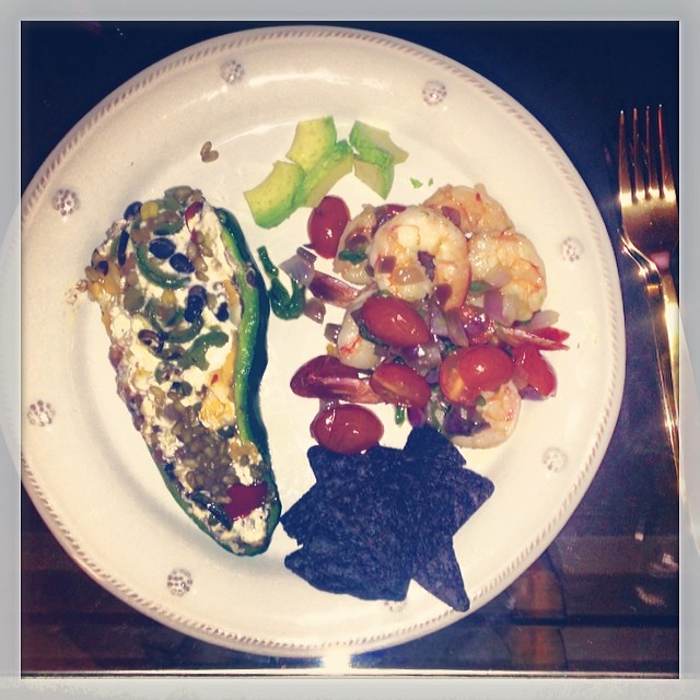 A #pescatarian delight:) Poblano pepper stuffed with refried beans and spiced greek yogurt, with jalapeño and tomato shrimp sautée #yum #lookwhatidid #somelikeithot (at The Caledonia)