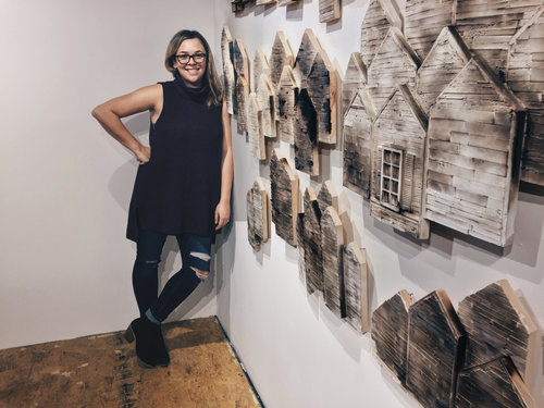Shea, Next to her 2D wall Installation,  Lost of Security  at Fountain Street Fine Art Gallery, Framingham, Massachusetts
