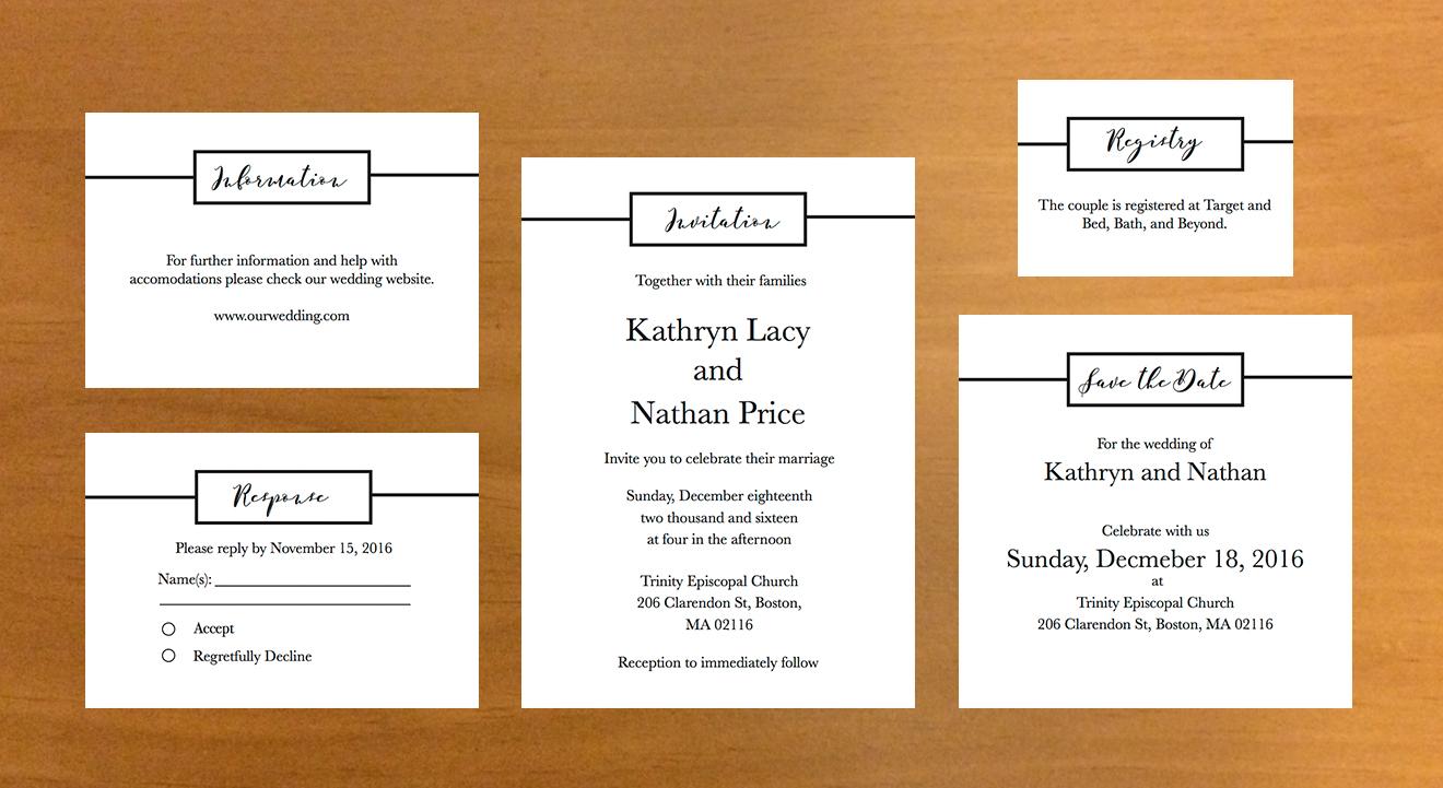 Clean multi-card wedding invitation.