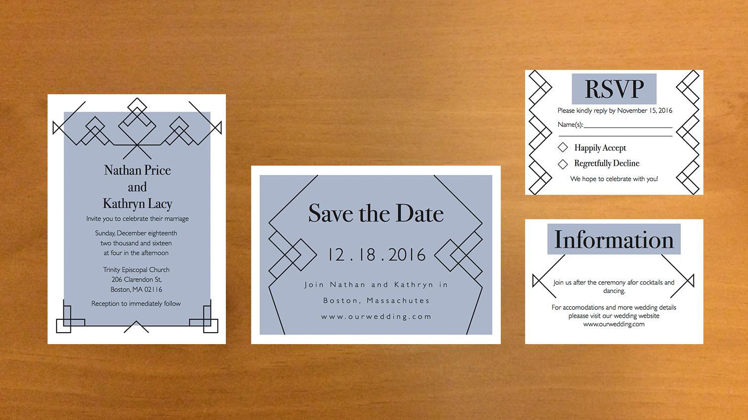 Art deco filigree multi-card wedding invitation.