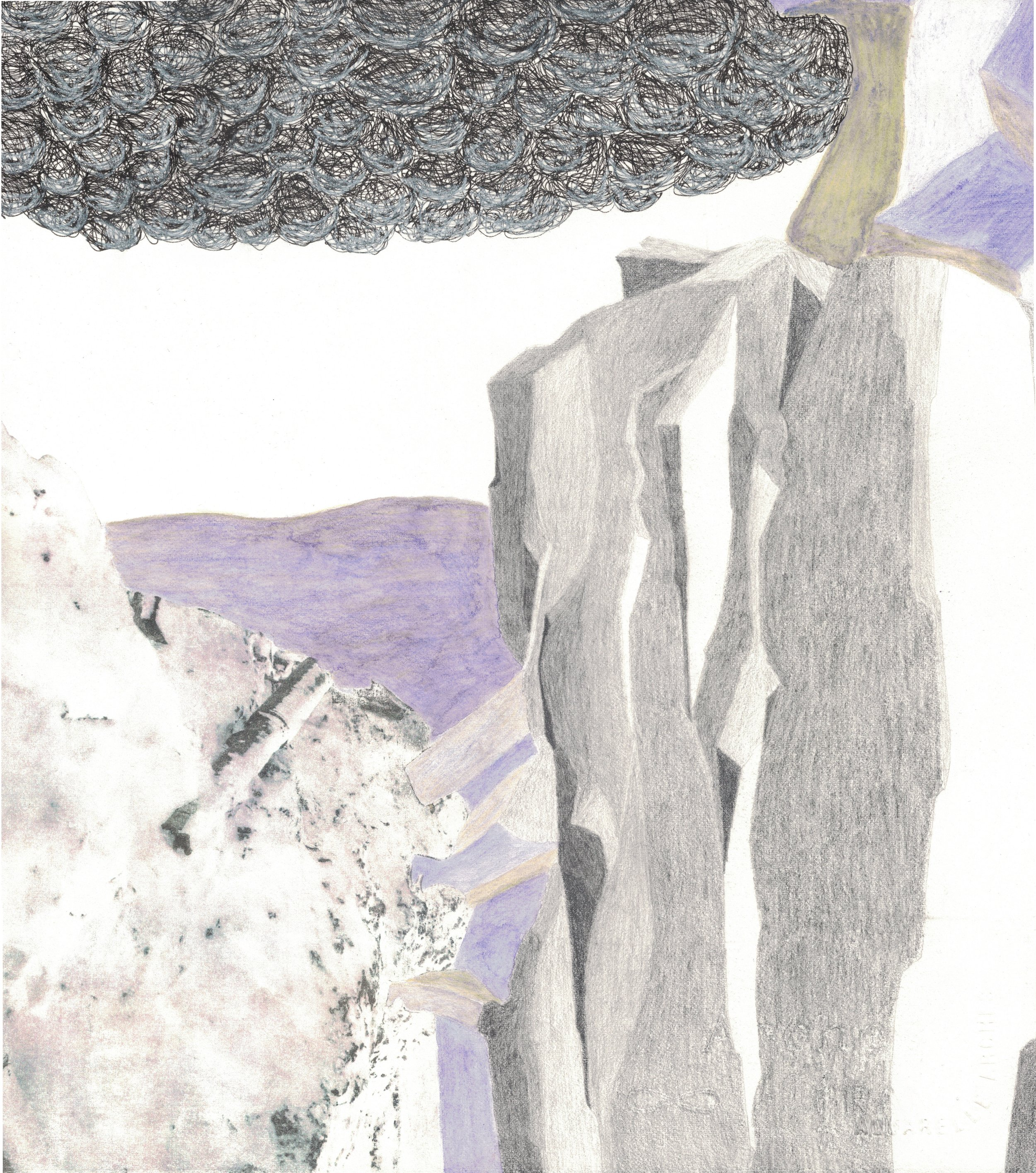 """Waterfall  Found Image, Charcoal, Watercolor, Pen, and Graphite on Paper, 11.25"""" x 10"""", 2015, $50, Available"""