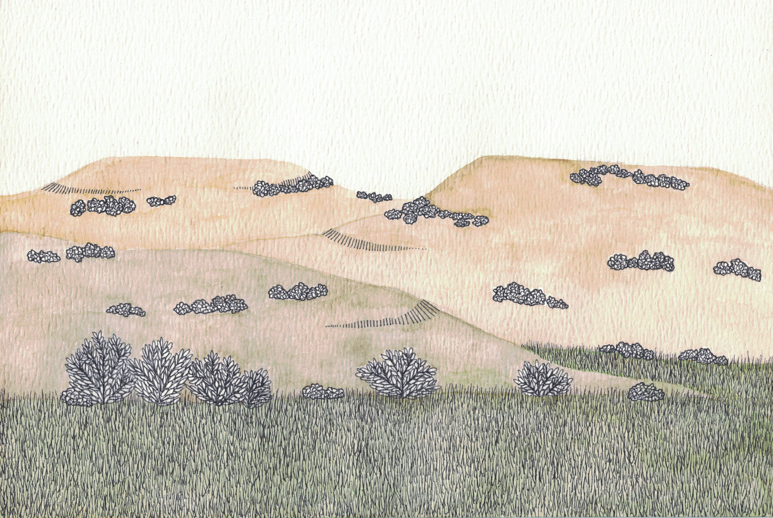 """Hill Country 5  Watercolor and Ink on Paper, 6"""" x 9"""", 2018, SOLD"""