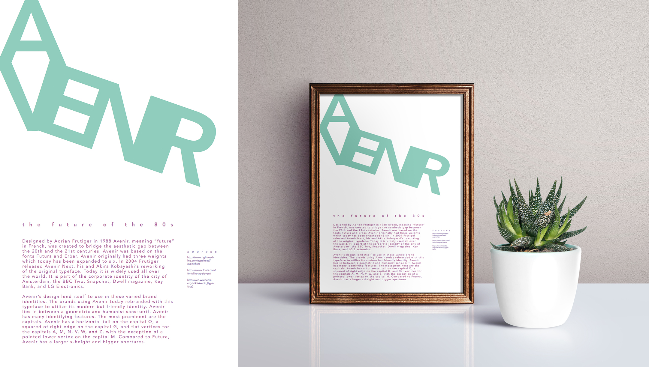 Poster explaining the history and identifying characteristics of the typeface Avenir.