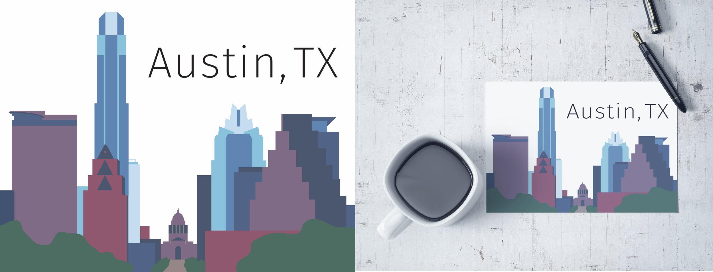 Austin, TX illustrated postcard.