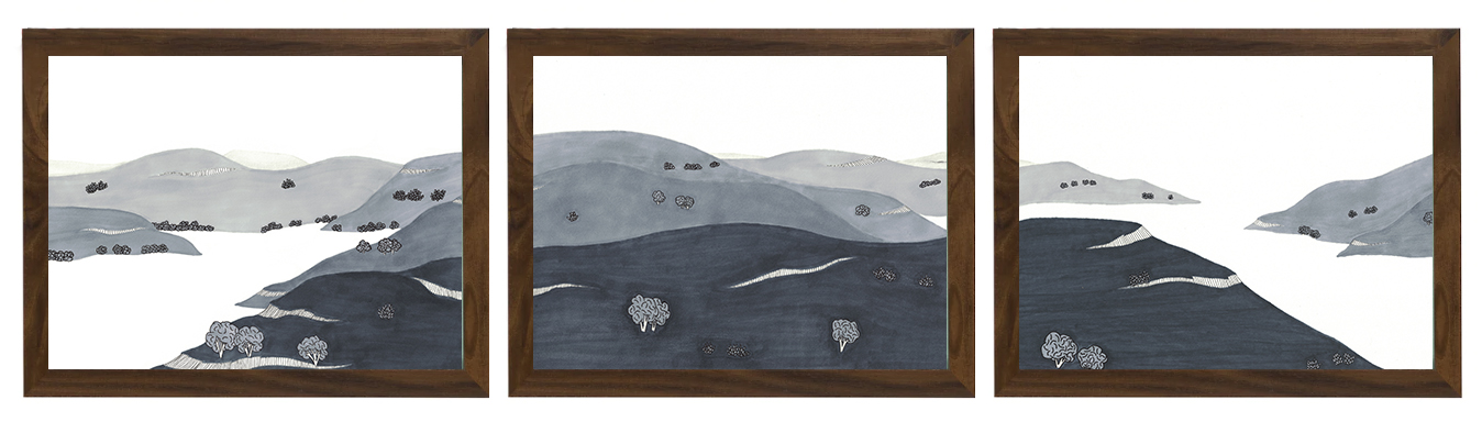 """Hill Country Triptych  Ink on Paper, 9"""" x 36"""", 2018, $185"""