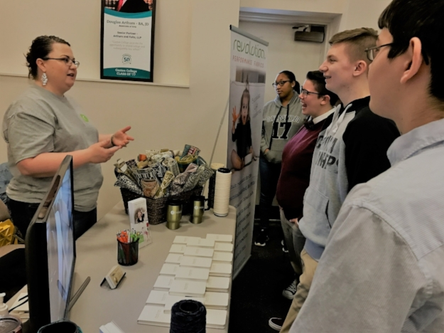 Sandra Jenkins speaking to Gaston County high school students at the Gaston College Career Expo on March 23, 2017.