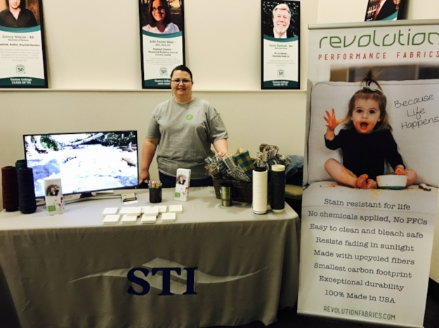 A glimpse of the STI booth at Gaston County Career Expo. Students are able to see samples of our fabric and yarns, as well as view our videos.