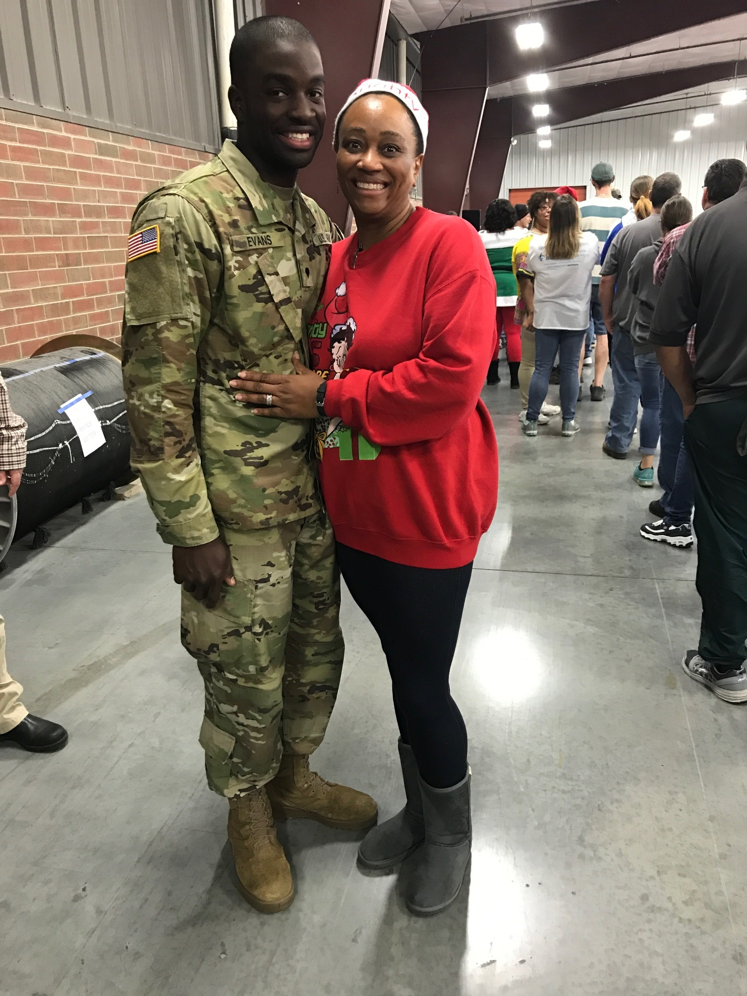 Sherrita Hunt  had a big surprise visit from her son, Kristopher, who was able to leave basic training to spend the holiday with his family. Thank you for your service, Kristopher!