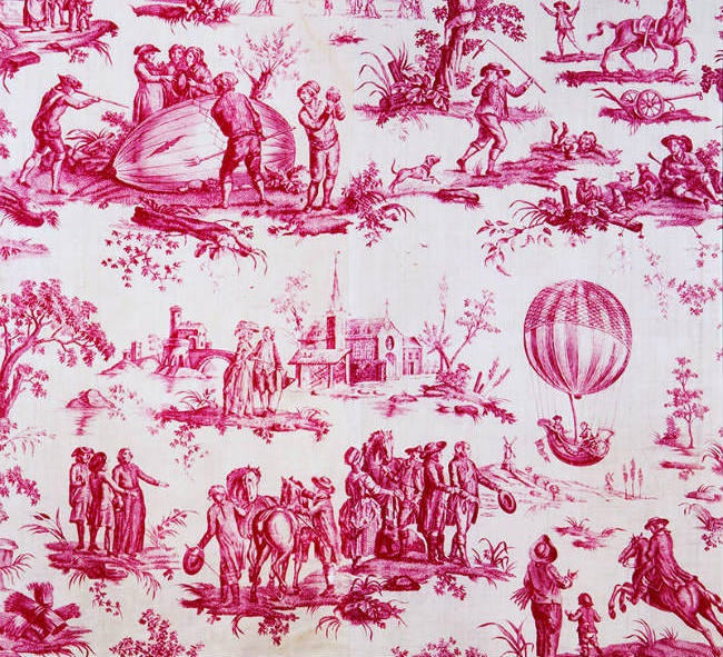 An example of a traditional toile. This piece actually came from a historic document in a museum.