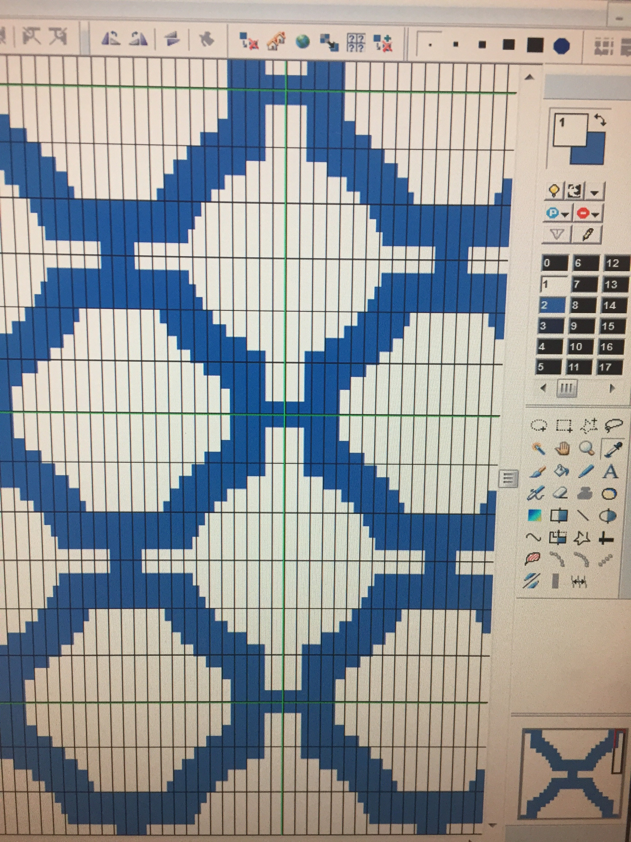 Above: Graphic of designing a jacquard pattern