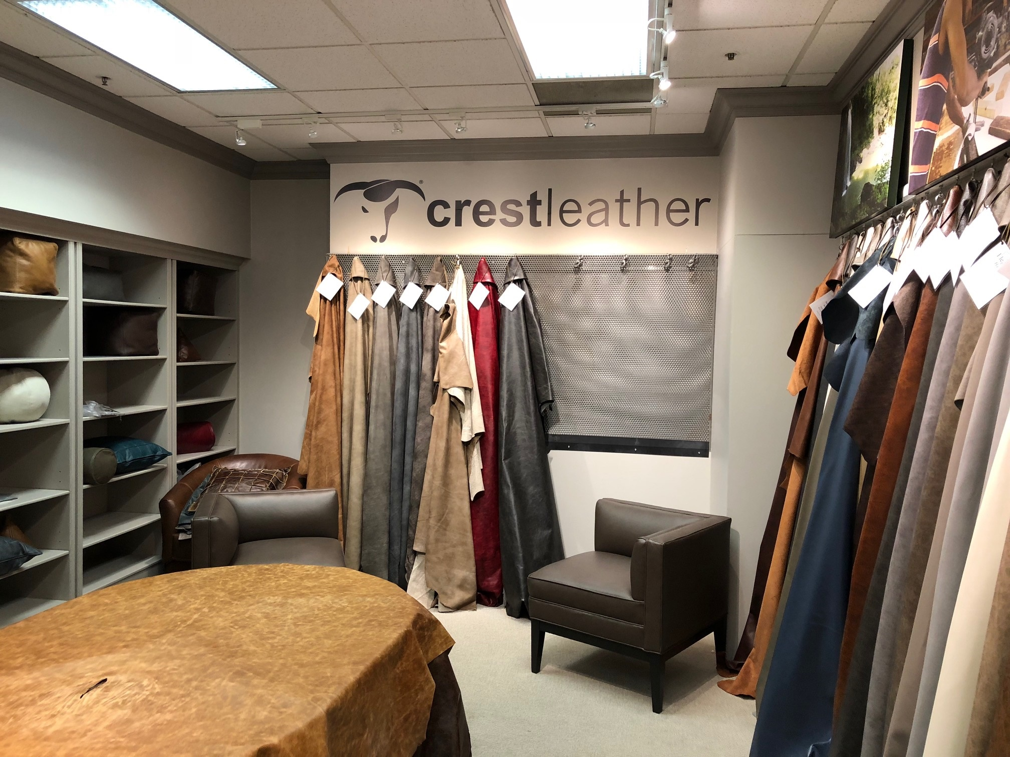 Crest Leather's show space in STI's Showroom in High Point, NC