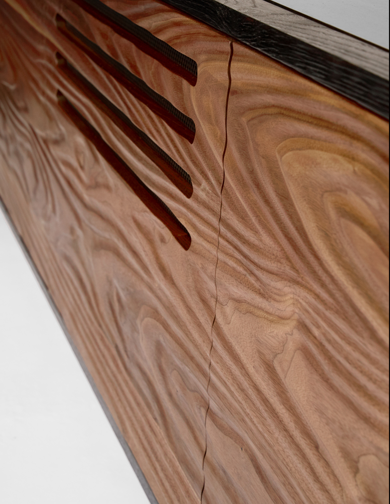 Natural Grain Enhanced Topography Carved Black Walnut Front   Download Tear Sheet