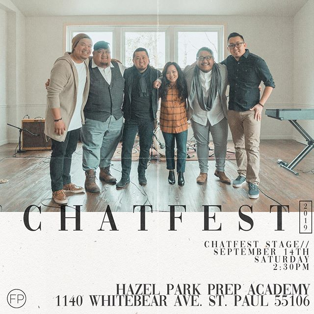 Catch our concert at CHATFEST with Center For Hmong Arts & Talent this weekend! We'd love to meet & share life with you!  Chatfest Stage Saturday, September 14th 2:30pm-3:30pm  Hazel Park Prep Academy 1140 Whitebear Ave. St. Paul 55106  #FishermensProject  #CHATFEST2019  #XaaMooZoo