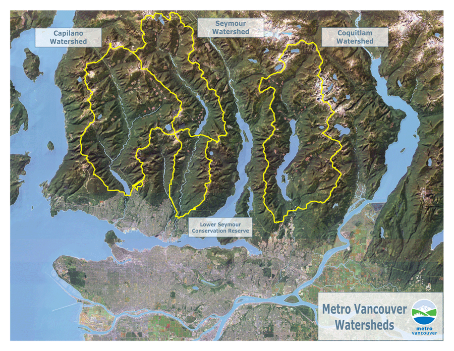 Shows the three Metro Vancouver Watersheds left to right (west to east)