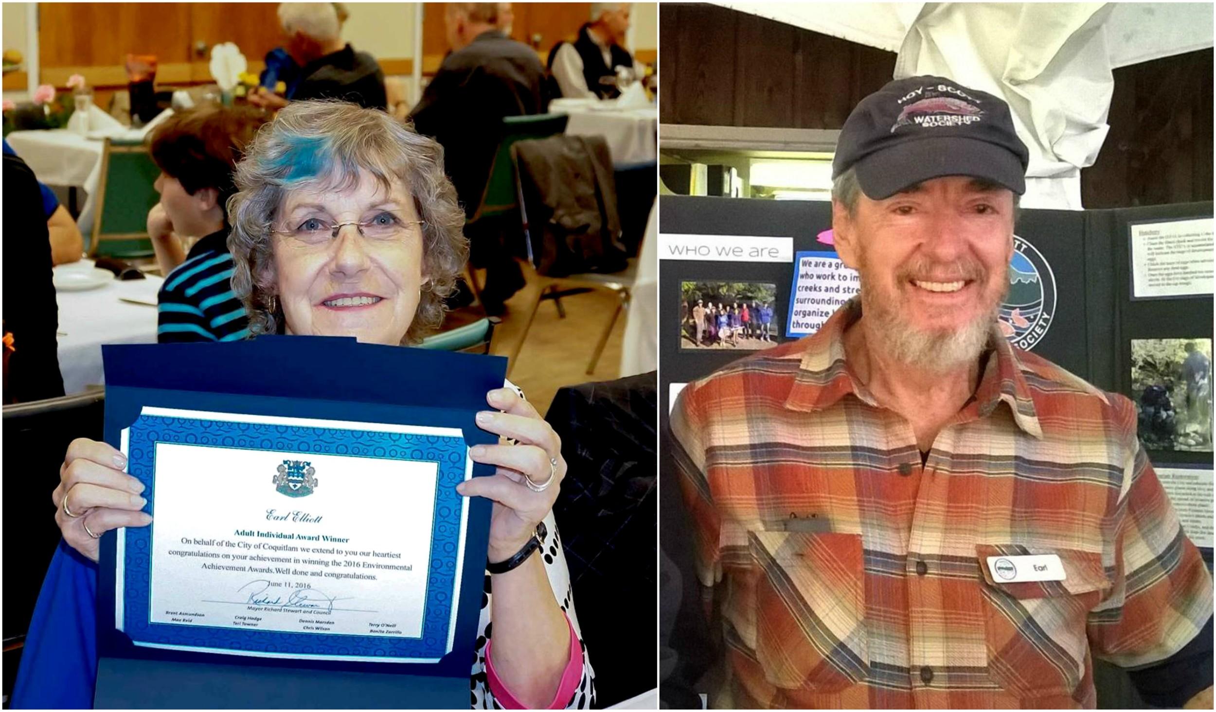 Lilian Elliott accepted her husband Earl's award certificate on his behalf.