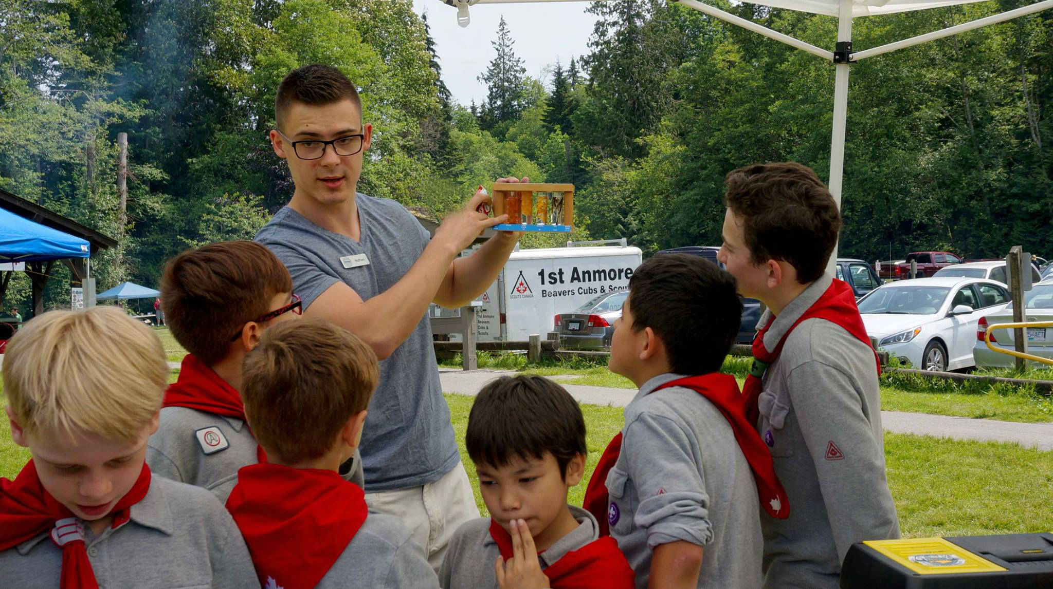 HSWS volunteer, Nathen explains the life cycle of the salmon to local scouts (Photo: Ed Paulino)