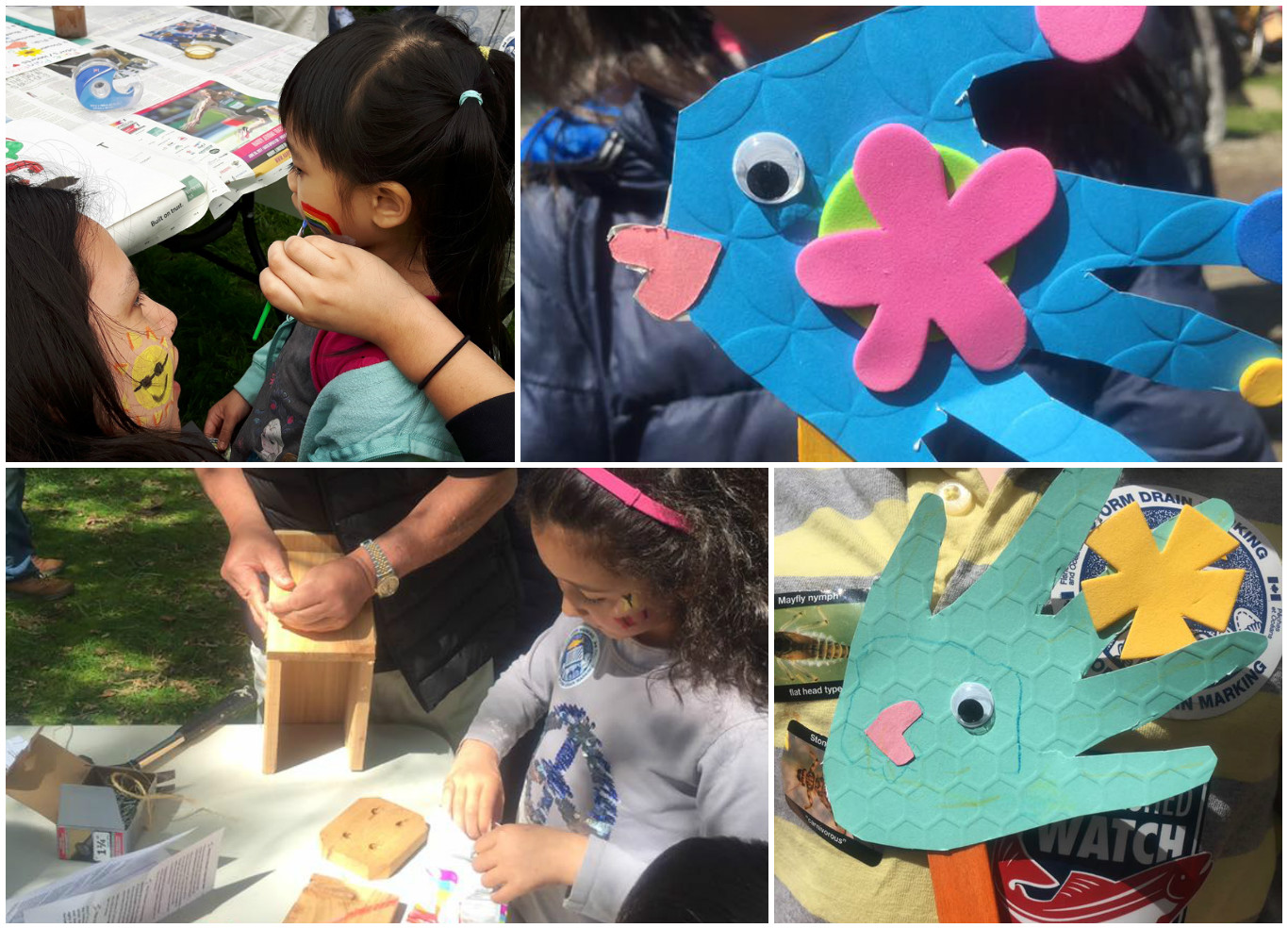 Face-painting, building bird boxes, and fish crafts...