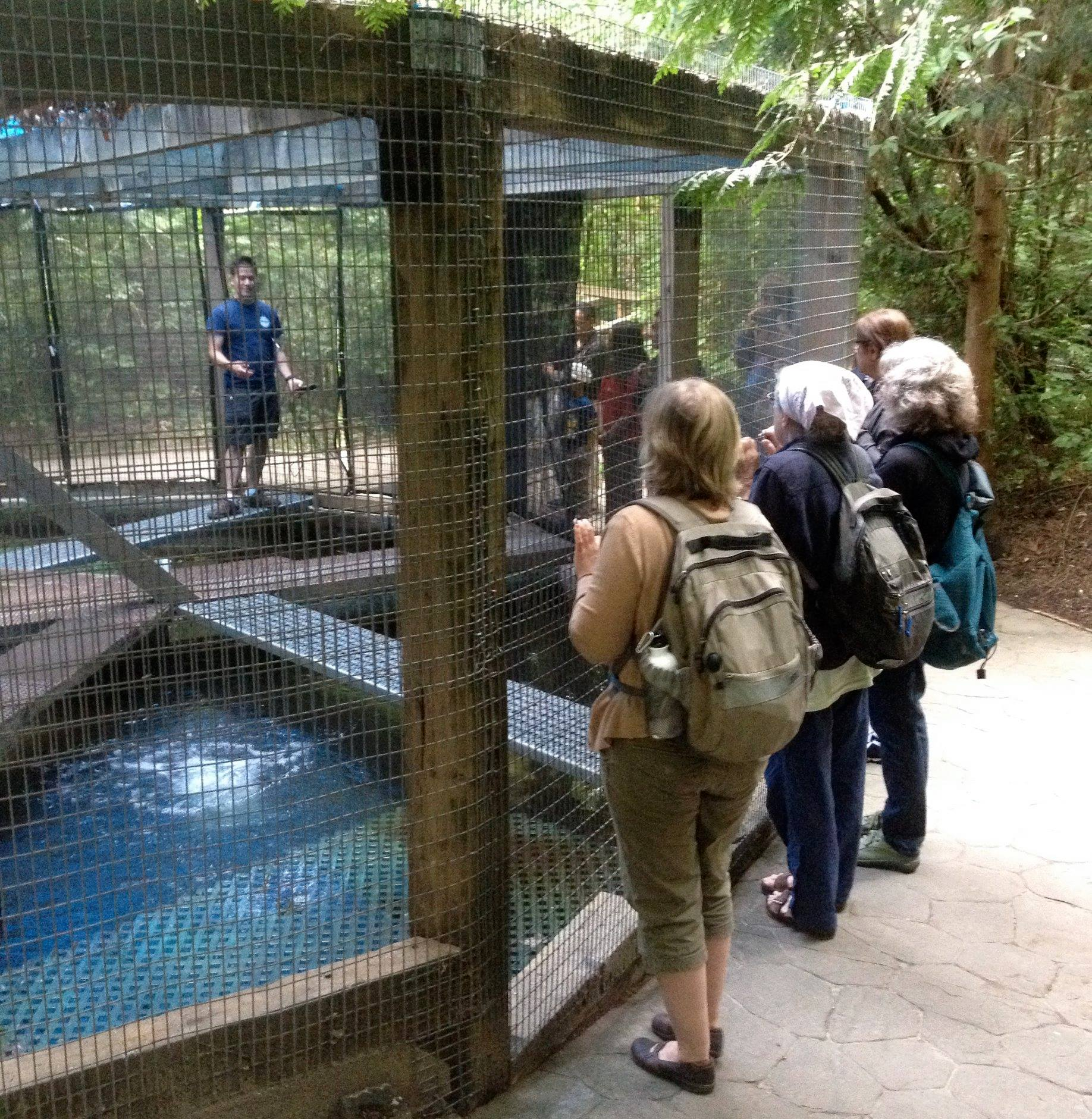 Rodney shows the salmon rearing pond.