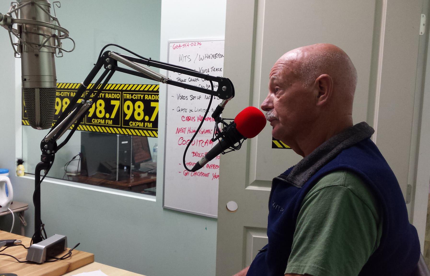Chris being interviewed on radio in 2015.
