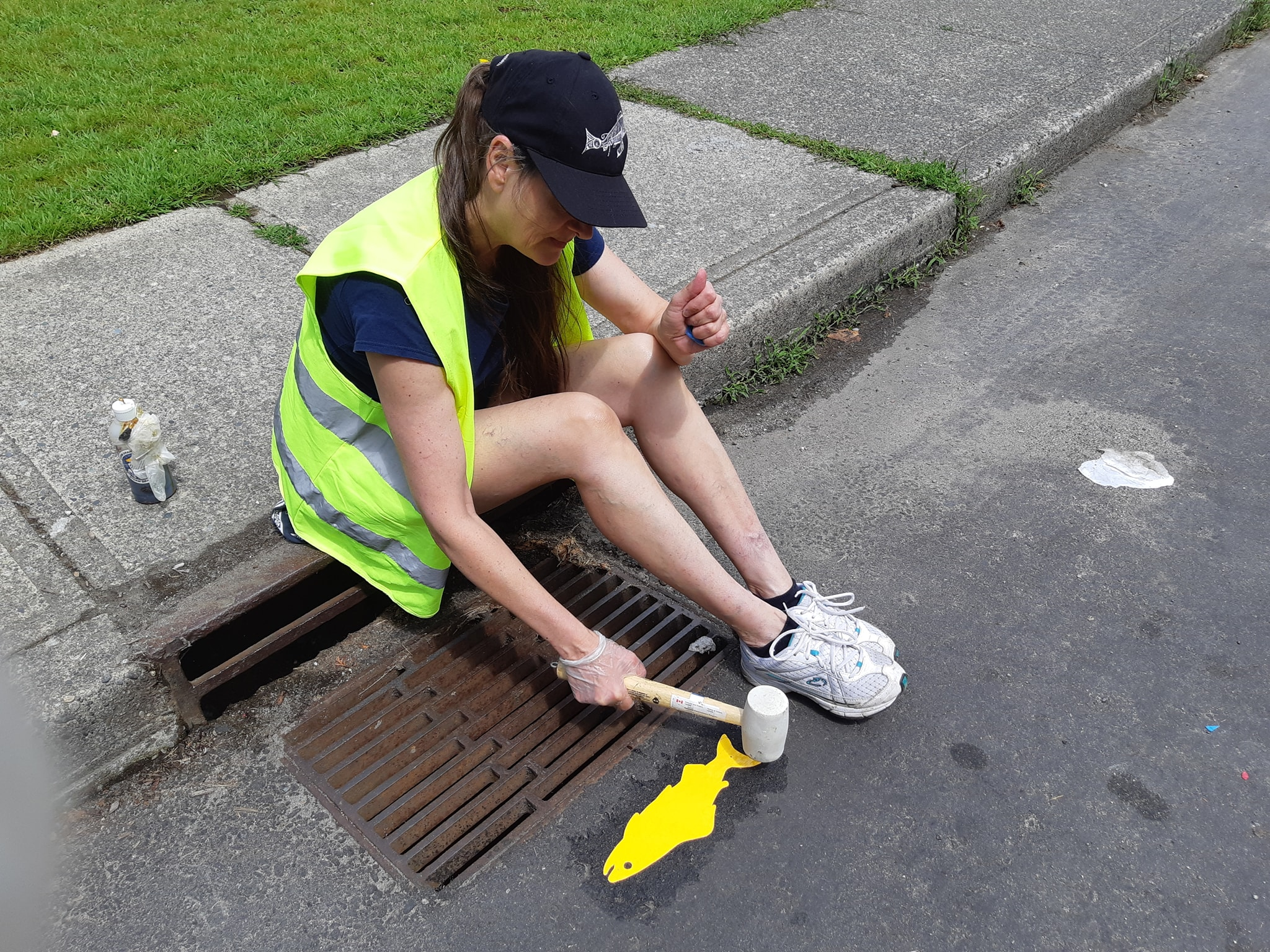 Volunteer, Lani Lehun pounding down a yellow fish decal by a storm drain. (HSWS photo)